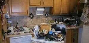 Fire Damaged Kitchen Before Remediation Procedures